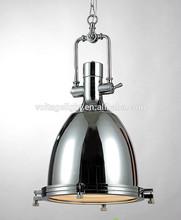 Decorative Vintage Industrial Hanging Lamp Chrome or Brass Color Pendant Light