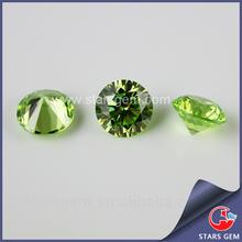 Apple green synthetic stone round shape AAAA cubic zirconia gemstone