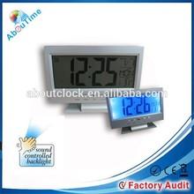 LCD voice Control clock/large display digital clocks/funny desk alarm clock
