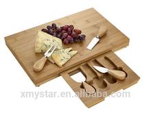 Natural bamboo cheese tools/bamboo cheese board with 4 tools/cheese cutting board set