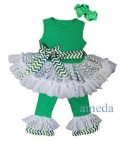 Girls St Patricks Day Green Chevron Ruffled Top with Pants Sash and Headband Outfit 1-6Y