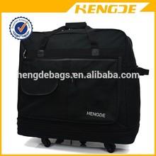 high quality black men polyester four wheels travel laptop trolley bag