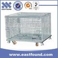 zincata a rotazione stoccaggio pieghevole gabbie di rete metallica con ruote