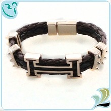 Top Sale Handmade Leather Bracelet Punk Style Bio Magnetic Leather Bracelet