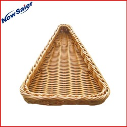 triangle plastic rattan fruit and vegetable basket for restaurant