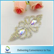 Best price ab chaton rhinestone beaded applique patch bridal,Bridal wear applique