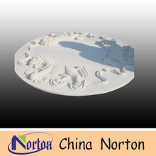 white carved lion statue round wall stone relief sculpture NTMR-R046