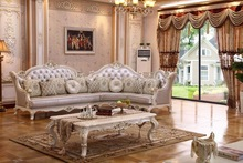 LS083 China luxury white wood carved italian antique L shape sectional antique chesterfield living room sofa baroque furniture