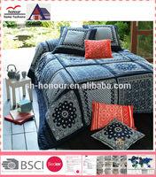 Hot Sale 100 Cotton/Polyester Dark Blue False Patchwork Printed Quilt