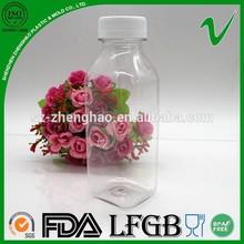 PET reliable square clear 350ml plastic juice bottle for wholesale
