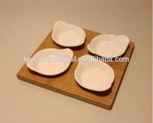 4 pezzi piatto piatto piastra merenda con bambù stand