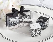 Damask ceramic salt and pepper shaker favors wedding