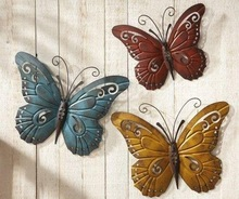 Nature Inspired Metal Butterfly Wall Art Trio Wall Hanging Garden Art