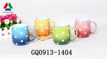 280ml glaze spraying latte ceramic coffee mug drawing dots for promotional gift
