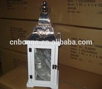decorative white wooden hurricane candle lantern