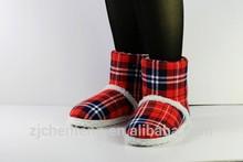 red tarten farbic boot winter snow boot