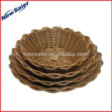 round washing plastic rattan food basket for restaurant