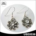 baratos de plata nuevo diseño del gancho astilla antiguos forma de la flor pendientes colgantes