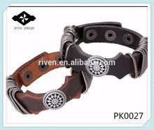PK0027 Men And Women Metal Charms Plain Leather Snap Bracelet