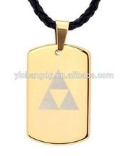 Tungsten Carbide Gold Legend of Zelda Triforce Design Dog Tag Pendant