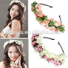 Flower Garland Floral Bride Headband Hairband Wedding Party Prom Festival Decor Princess Floral Wreath Headpiece