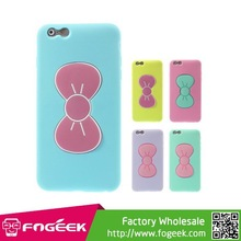 Cute Bowknot Silicone + TPU Hybrid Shell Stand Case Cover for iPhone 6