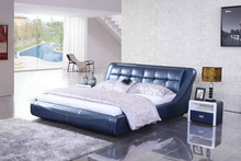 Anrise genuine leather bed in black color 1345#