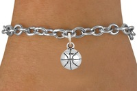 wholesale personalized antique silver plated zinc alloy basketball balls charm link chain bracelet jewelry in yiwu futian market