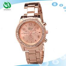 Geneva Fashion Diamonds Luxury Rose Gold Watch Women