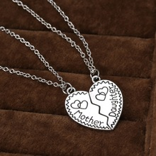 Fashion Alibaba heart shaped mosaic mother and daughter necklace jewelry