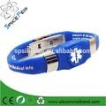 Nouveau métal 2015 silicone bracelet d'alerte médicale, sensibilisation à l'autisme bracelet gravé du diabète