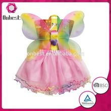 2015 Fashion rainbow wholesale fairy wings baby children halloween costume girls party wear mini skirts set