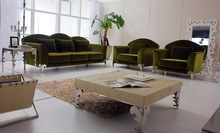 JR310 simple luxury contemporary green color velvet fabric living room salon hotel lobby sofa set 1+1+3