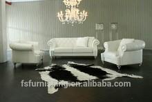 JR307 Modern contemporary white color genuine thick leather retro Diamond stitchs living room sofa set 1+2+3 + ottoman