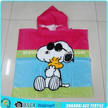 100% cotton Famous cartoon design kids beach towel poncho printed kids beach towel poncho beach hooded towel