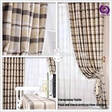 Fashion Home Textile Plaid and Check Pattern Fiber Curtain
