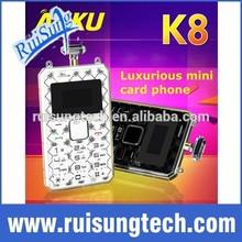 New 2015 Luxury AEKU K8 Card Mobile Phone Ultra Thin Pocket Mini Phone Quad Band pocket students children gift