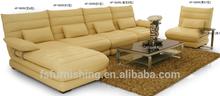 JR821 Modern yellowsh fashion genuine cow leather L shape living room salon sectional soft corner sofa couch set office sofa