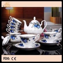 Hot sale royal bone china 15pcs coffee and tea set English style