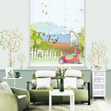 RBXT6042 blackout print polyester fabric roller curtain