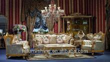 WG85 Luxury Louis XV retro antique Italy fancy french European baroque rococo wood carved living room velvet fabric sofa set