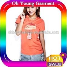 gold foil printing t shirt/3m reflection printing t shirts/o neck womans t shirt wholesale factory t shirt