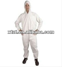CE marked waterproof disposable nonwoven simple PE coverall waist & ankles attaching for medical and surgical use