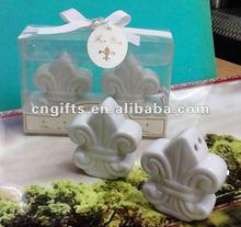Wedding door gifts of Fleur-de-Lis Ceramic Salt & Pepper Shakers