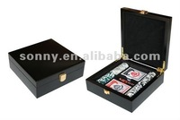 Poker chip set with wood case