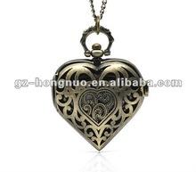 Heart Bronze tone Steampunk style Quartz pocket watch goth vintage love gift HN1299