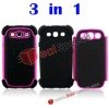 3 in1 Detachable Case Cover for Samsung Accessories Galaxy S3 i9300(Hot Pink)