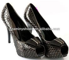 Fashion high heel shoe fish skin