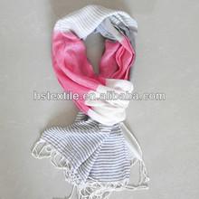 NEWEST!woman fashion 100%viscose pink white stripes scarf