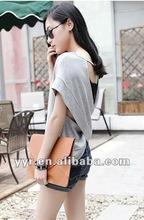 2012 Fashion Sexy Lady Short Sleeve O-Neck Cross Back Casual t Shirt